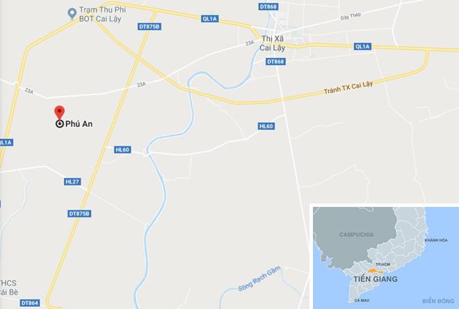 Xã Phú An (huyện Cai Lậy, tỉnh Tiền Giang), nơi xảy ra vụ việc. Ảnh: Google Maps.