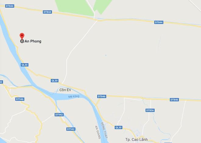 Xã An Phong (huyện Thanh Bình, Đồng Tháp), nơi xảy ra vụ việc. Ảnh: Google Maps.