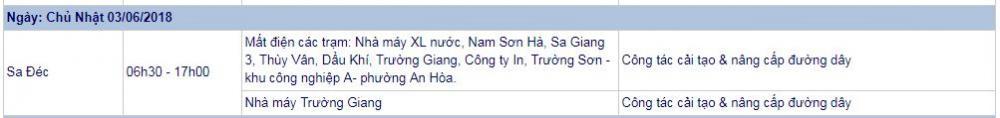 Lịch cúp điện Đồng Tháp 03/6