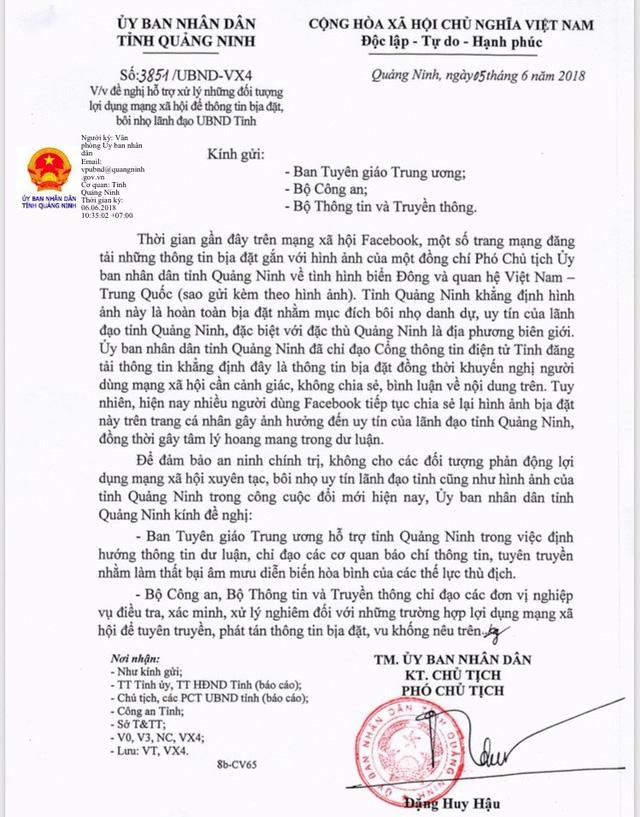 Công văn của UBND tỉnh Quảng Ninh đề nghị cơ quan chức năng vào cuộc xử lý. Ảnh: Đ.Tùy