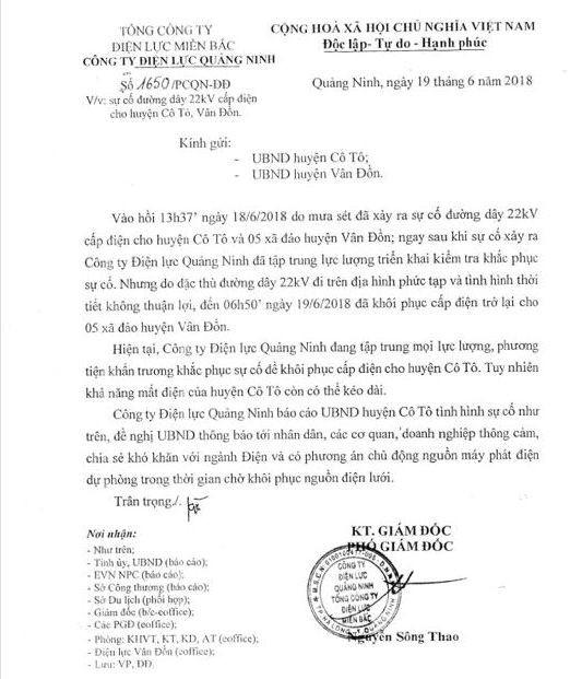 Thông báo về sự cố mất điện tại huyện Cô Tô, Vân Đồn do sét đánh trúng đường dây. Ảnh: Đ.Tùy