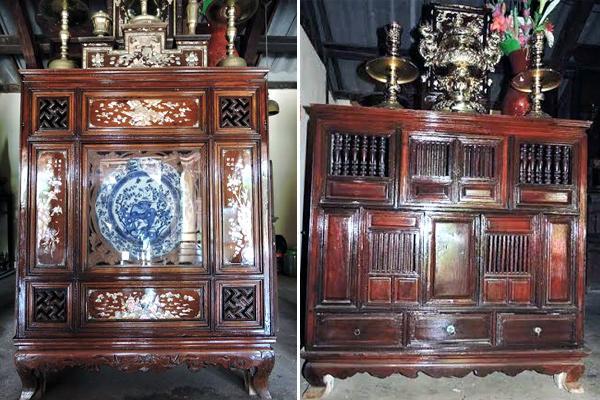 Tủ thờ hàng trăm năm tuổi bằng gỗ mít đã lên nước bóng của thời gian.
