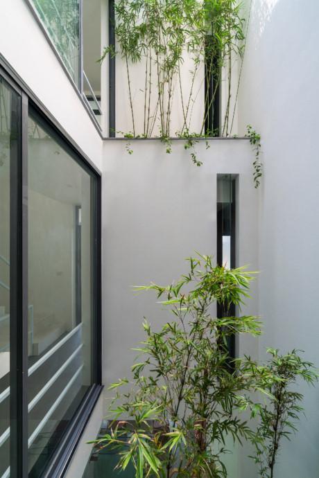 Để đối phó với khói bụi và tiếng ồn do quá trình phát triển đô thị hóa, các kiến trúc sư đã tạo ra hai khoảng trống trong nhà.