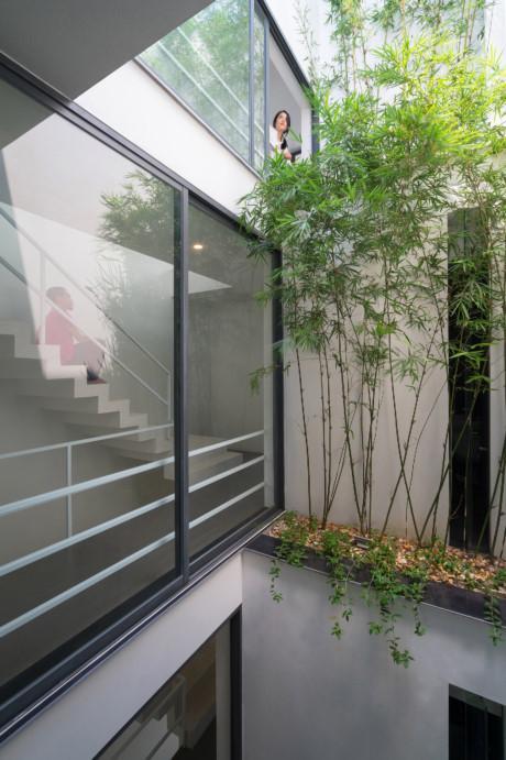 Khoảng trống thứ hai đặt giữa nhà. Đây vừa là nơi lấy ánh sáng, gió tự nhiên, vừa là nơi để gia chủ trồng cây xanh.