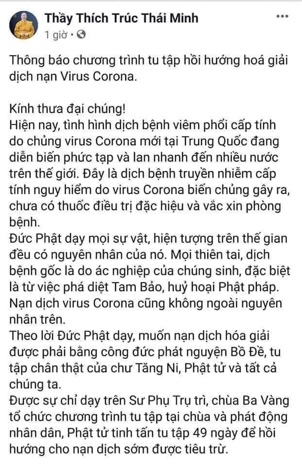 Thông báo về việc tu tập hồi hướng hóa giải nạn dịch virus corona được cho là của sư thầy Thích Trúc Thái Minh và chùa Ba Vàng. (Ảnh chụp màn hình).