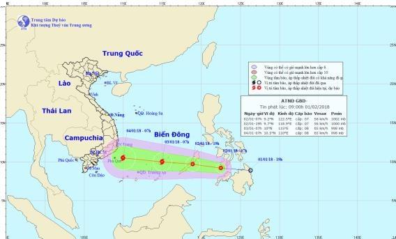 Vị trí và tâm áp thấp nhiệt đới vào lúc 7h sáng nay