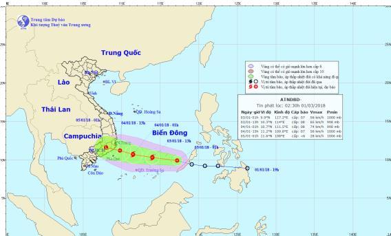Vị trí và đường đi của áp thấp nhiệt đới. Ảnh: Trung tâm Dự báo Khí tượng Thủy văn Trung ương