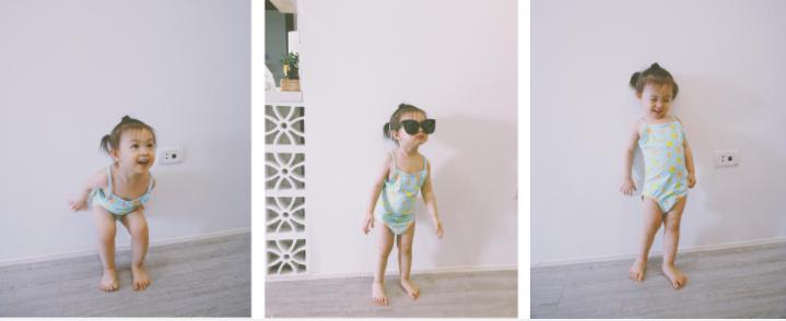 Cô bé hào hứng đi tập bơi nè!