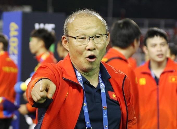 Niềm vui của HLV Park sau khi đ..ánh bại Indonesia ở chung kết SEA Games. Ảnh: Đức Đồng.