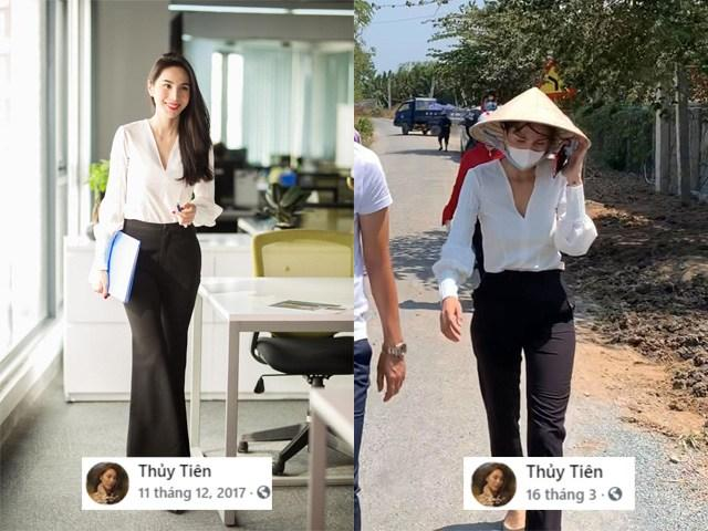 Chiếc áo công sở blouse trắng này cũng vậy. Vào năm 2017 cô nàng đã chưng diện nó và  lên facebook và giờ cô tiếp tục diện vào tháng 3 để đi chống hạn mặn cùng bà con miền Tây.