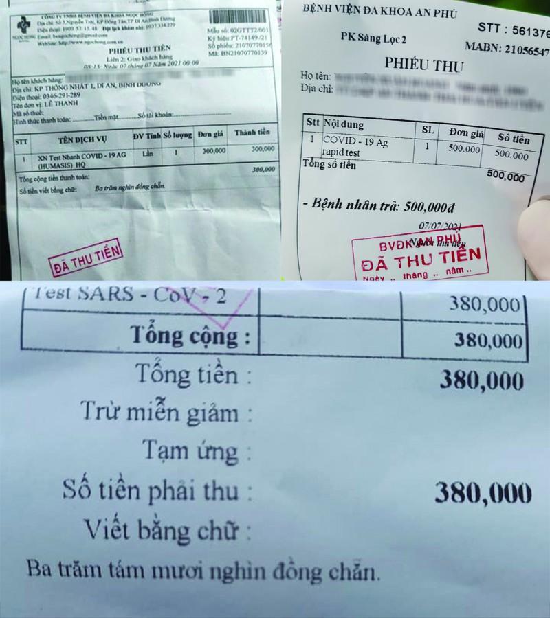 Giá test nhanh COVID-19 tại mỗi cơ sở y tế mỗi nơi một kiểu. Ảnh: Bạn đọc cung cấp