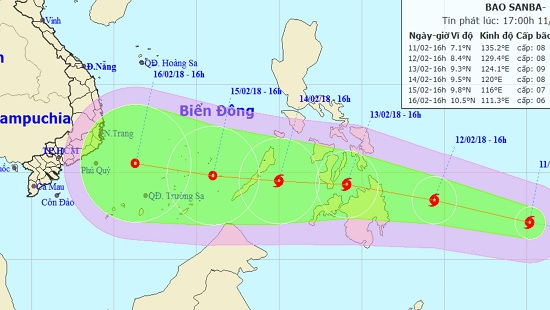 Vị trí và hướng di chuyển của bão Sanba.