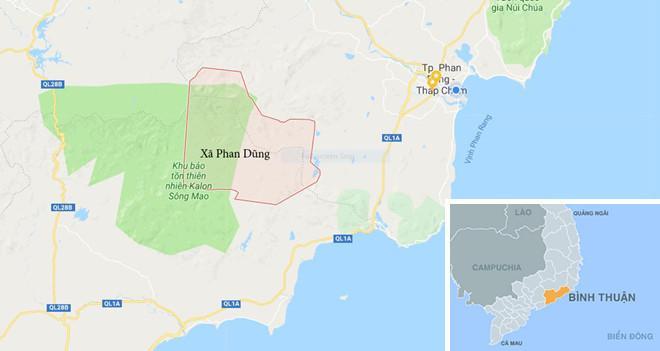 Xã Phan Dũng, nơi phượt thủ mất tích. Ảnh: Google Maps.