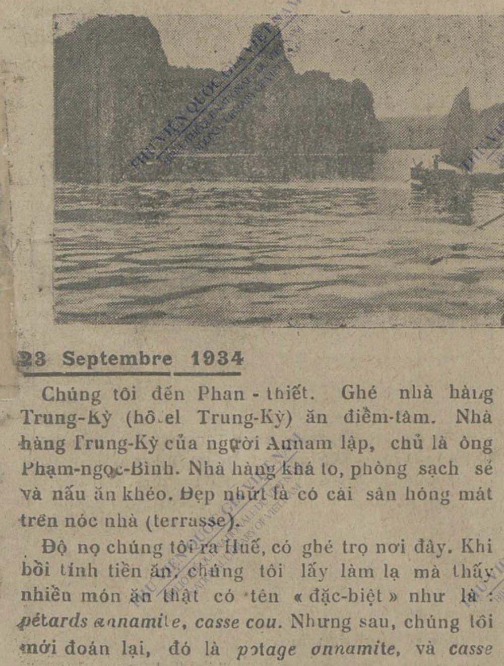 """Bài viết về hotel Trung Kỳ trên tờ """"Phụ Nữ Tân Văn"""" năm 1934."""
