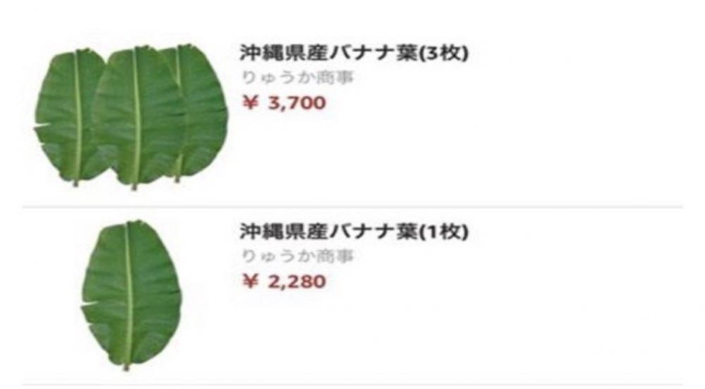 Trước đó, lá chuối bán trên trang Amazon Nhật với giá 500.000 đồng/lá cũng khiến người Việt ngạc nhiên. Ảnh: Amazon.