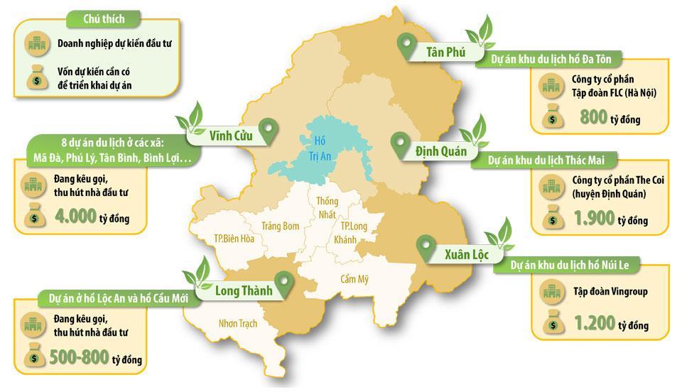 Đồ họa thể hiện doanh nghiệp dự kiến đầu tư và số vốn dự kiến cần có để triển khai các dự án du lịch ở một số địa phương trong tỉnh. (Thông tin: Hương Giang - Đồ họa: Hải Quân)