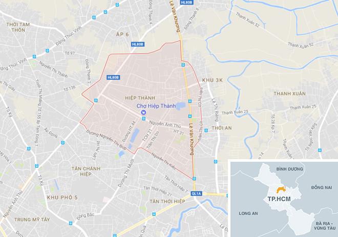 Trường mầm non tư thục Mầm Xanh nằm ở đường HT05, phường Hiệp Thành, quận 12, TP.HCM, nơi xảy ra vụ hành hạ trẻ em. Ảnh: Google Maps.
