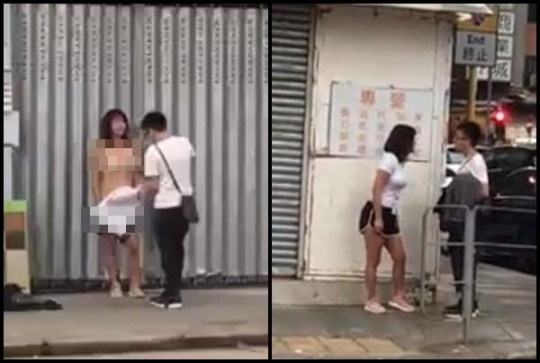 Cô gái lột phăng chiếc áo phông trên người ra sau khi cãi nhau với bạn trai.