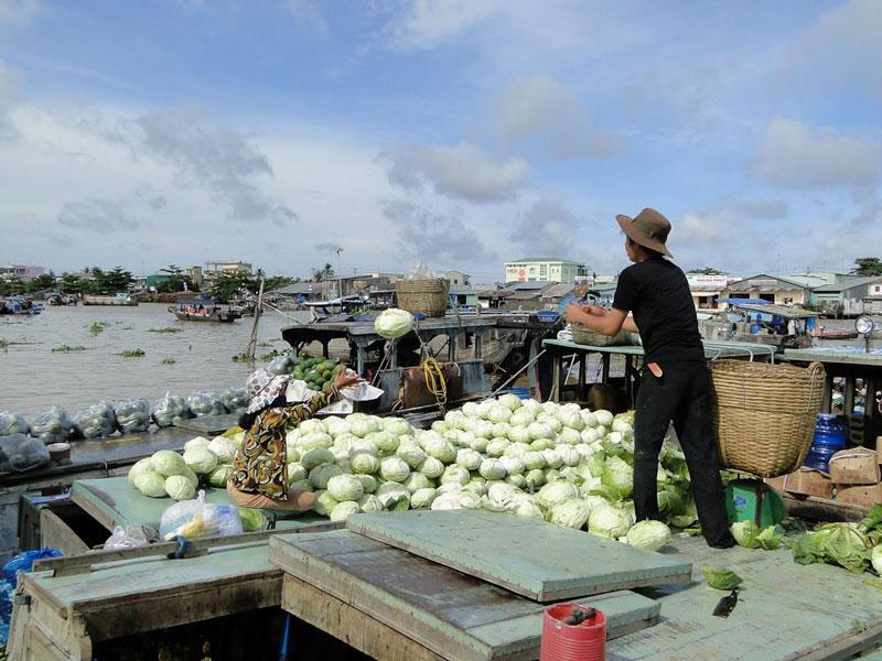 Nếu như dân địa phương và các vùng lân cận thường sử dụng các ghe, xuồng trung bình chở các mặt hàng nông sản đến đây tiêu thụ thì những ghe bầu lớn là của các thương lái thu mua trái cây tỏa đi khắp nơi, sang tận Campuchia và Trung Quốc. Ảnh: Vietravel.