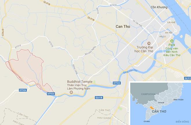 Thị trấn Phong Điền (màu đỏ) ở Cần Thơ. Ảnh: Google Maps.