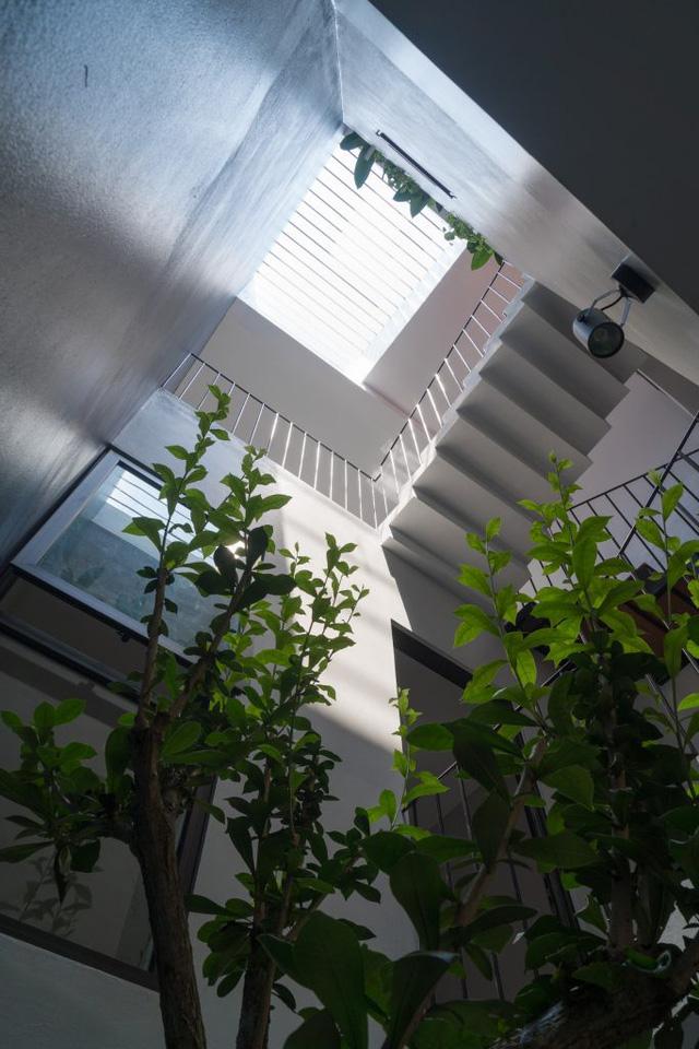 Nhờ khoảng thông tầng, từ các tầng trên, gia chủ vẫn có thể quan sát không gian tầng 1.