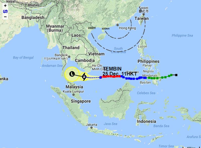 Đài quan sát khí tượng thủy văn Hong Kong dự báo bão Tembin sớm suy yếu từ bão nhiệt đới nghiêm trọng xuống còn áp thấp nhiệt đới. Ảnh: HKO