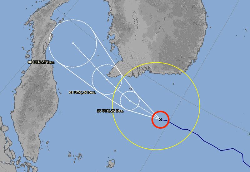 Dự báo của JMA về đường đi của bão Tembin trong vòng 72 giờ tới. Ảnh: JMA