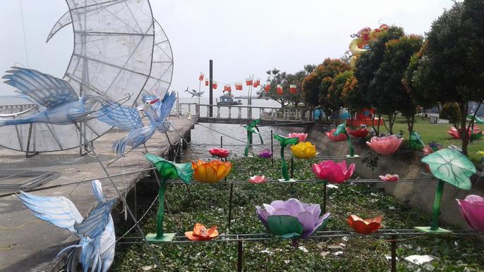Mô hình hoa sen, cánh cò được tái hiện bên bờ sông Hậu