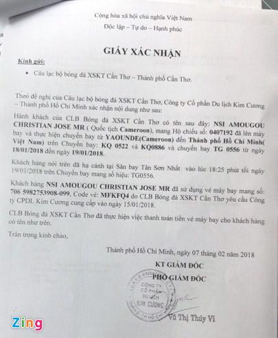 Giấy xác nhận CLB Cần Thơ đã bỏ tiền để mua vé máy bay cho Nsi qua thi đấu.