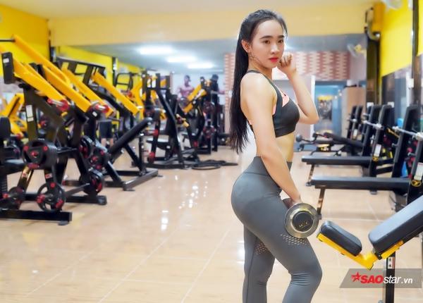 """Kim Nguyên nói: """"Tập Gym có rất nhiều lợi ích, không chỉ giúp bản thân thay đổi về ngoại hình, mà còn giúp trí não phát triển hơn và rèn cho con người tính kiên nhẫn, luôn bùng nổ để gặt hái mơ ước""""."""
