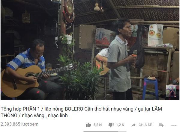 Clip ca nhạc của lão nông Cần Thơ thu hút hơn 2 triệu người xem. Ảnh chụp màn hình