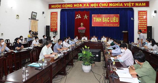 Quang cảnh buổi làm việc giữa Đoàn công tác Bộ Y tế với tỉnh Bạc Liêu.