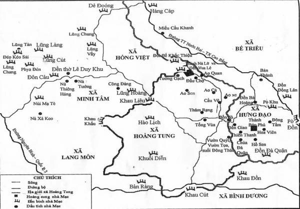 Sơ đồ khu trung tâm của nhà Mạc ở Cao Bằng vùng Cao Bình - Nà Lữ - Minh Tâm