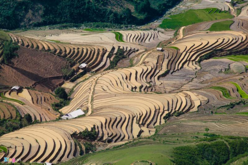 Vẫn còn nhiều nơi lúa chưa cấy. Hàng chục thửa ruộng xếp chồng lên nhau như những bức tranh hội họa trừu tượng.