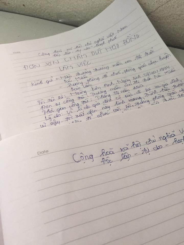 Hình ảnh đơn xin nghỉ việc của cô giáo mầm non Kim Anh
