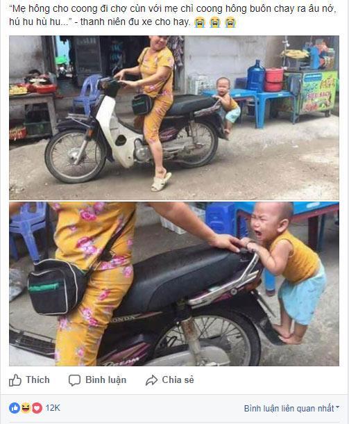 Hàng loạt fanpage Việt đình đám đã thi nhau chia sẻ bức ảnh cực đáng yêu của một bé trai đang níu xe máy không cho mẹ đi chợ.