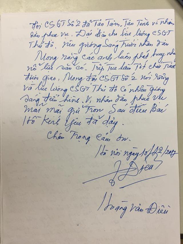 Thư cảm ơn của ông Hoàng Văn Điều gửi Giám đốc Công an TP. Hà Nội, Trưởng phòng PC 67 Hà Nội và Ban chỉ huy Đội CSGT số 2.