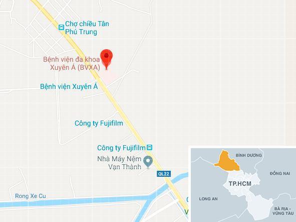 Bệnh viện Xuyên Á tiếp nhận gần 100 công nhân nghi ngộ độc. Ảnh: Google Maps.