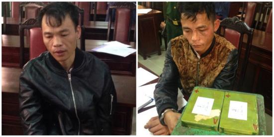 2 đối tượng vận chuyển 2 bánh heroin từ Việt Nam sang Hồng Kông tiêu thụ bị Đồn Biên phòng Hải Hòa bắt giữ. Ảnh: CTV