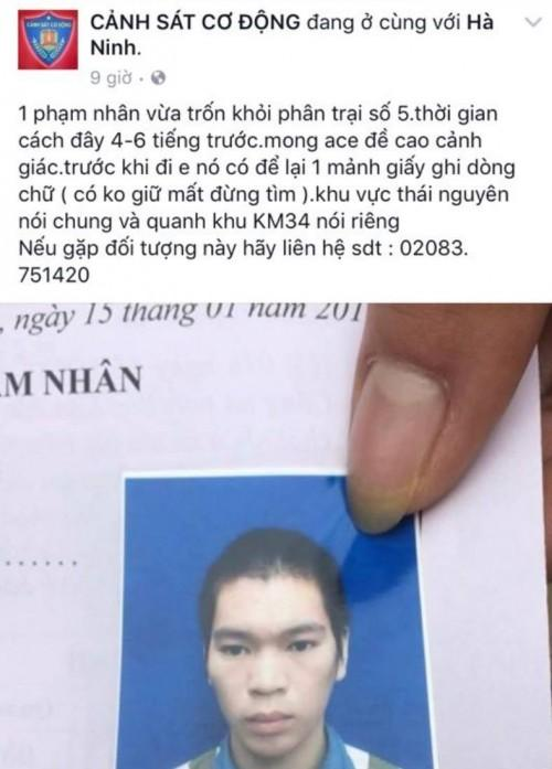 Một fanpage đăng tải thông tin tìm phạm nhân trốn trại ở Thái Nguyên.