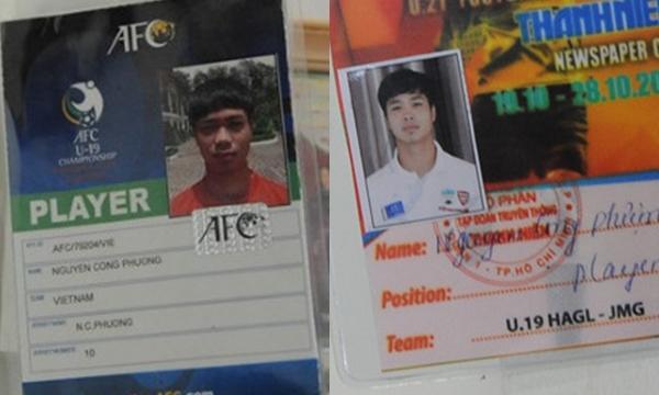 Ảnh thẻ tham dự VCK U19 châu Á với tư cách đội trưởng U19 Việt Nam của Nguyễn Công Phượng (ảnh trái) và khi tham gia giải U21 quốc tế ở Cần Thơ (ảnh phải). Có thể thấy dù là ảnh thẻ ở thời điểm nào thì cầu thủ mang áo số 10 vẫn cực ngầu.