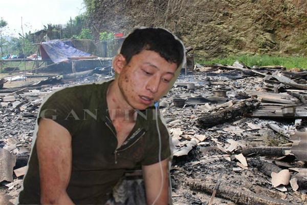 Đối tượng Khánh và hiện trường vụ đốt nhà.