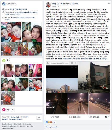 Chị Thúy và dòng trạng thái kêu oan trên facebook