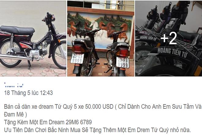 Chủ nhân của dàn xe Dream biển tứ quý trị giá hơn 1 tỷ đồng đến từ Bắc Ninh chia sẻ, đã có rất nhiều khách hàng muốn mua lẻ từng chiếc Honda Dream nên đã trả giá rất cao. Tuy nhiên, anh Tiến muốn dành cả một bộ Honda Dream độc lạ này cho ai thực sự có điều kiện và đam mê sưu tầm.