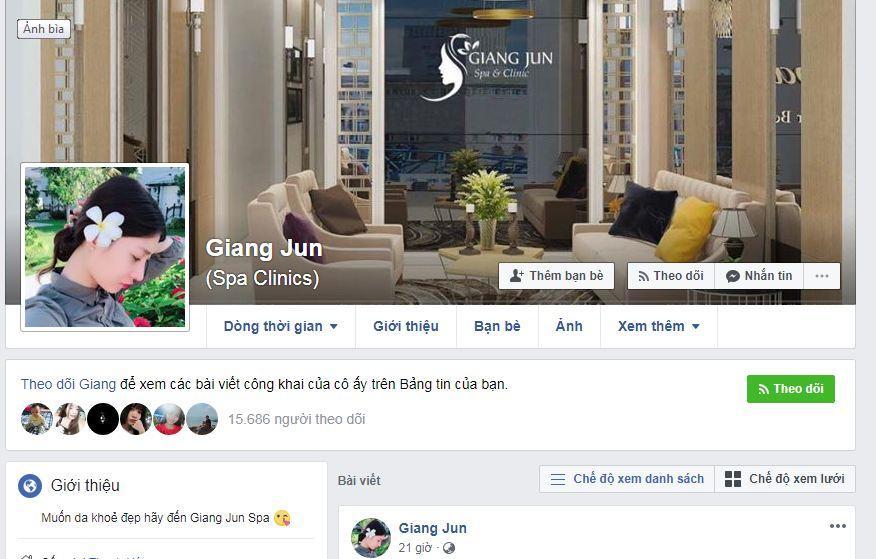 Trang FB cá nhân của cô gái bị đánh ghen, ảnh: FB Giang Jun.