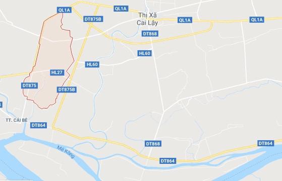 Xã Phú An, huyện Cai Lậy (khoanh đỏ), nơi xảy ra vụ việc. Ảnh: Google Maps.