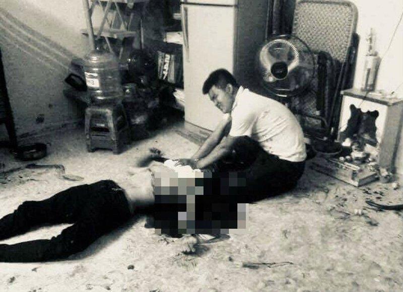 Hiện trường nạn nhân Tuấn bị chém đến tử vong. Ảnh: VietNamNet.