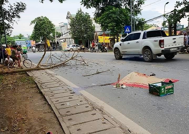 Hiện trường vụ tai nạn thương tâm khi cành cây rơi trúng xe máy đang lưu thông
