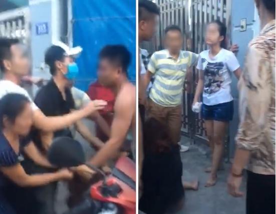 Nhóm phụ nữ xông vào đánh chị G. Ảnh cắt từ clip.