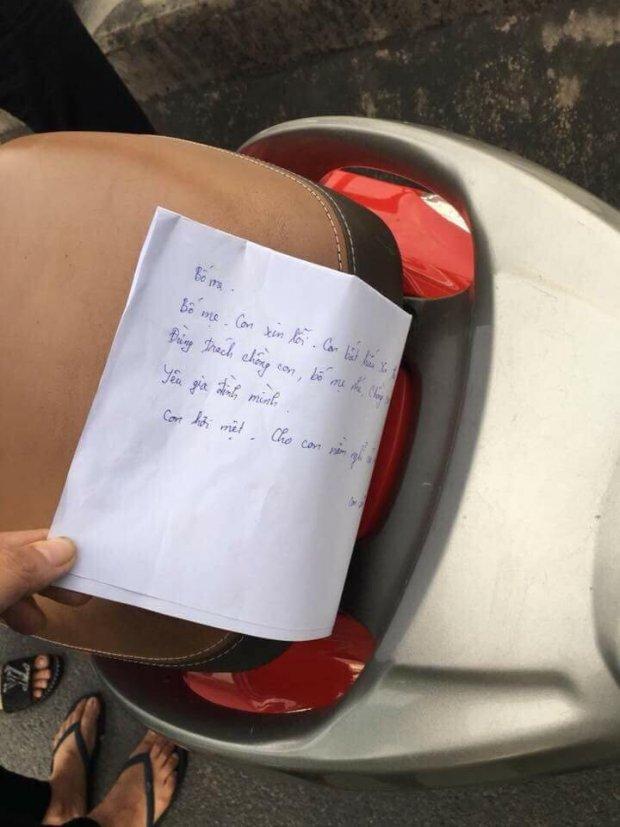 Nạn nhân để lại lá thư xin lỗi người thân trước khi nhảy cầu. Ảnh facebook